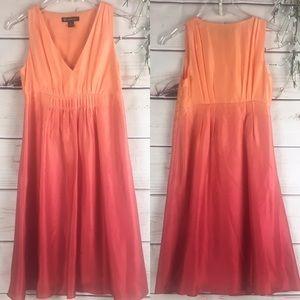 INC Dip Dyed Ombré Orange to Pink Silk Dress